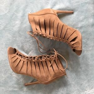 Tan Suede Steve Madden Lace Heeled Sandals
